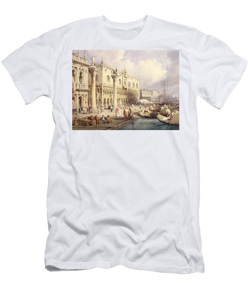 The Men's T-Shirt (Athletic Fit) featuring the painting The Palaces Of Venice by Samuel Prout