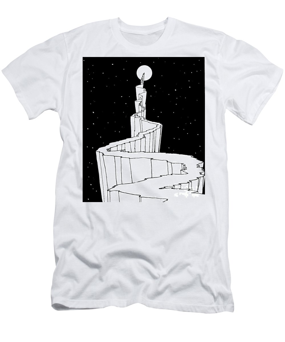 The Path To The Moon Men's T-Shirt (Athletic Fit) featuring the photograph The Path To The Moon by William Heath Robinson