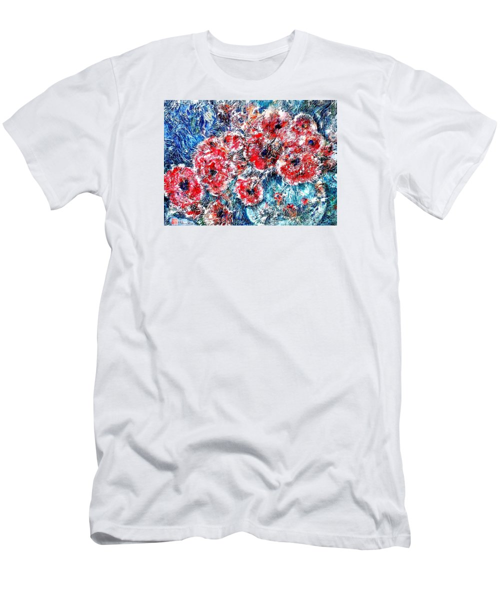 Poppies Men's T-Shirt (Athletic Fit) featuring the painting The Poppies by Norma Boeckler