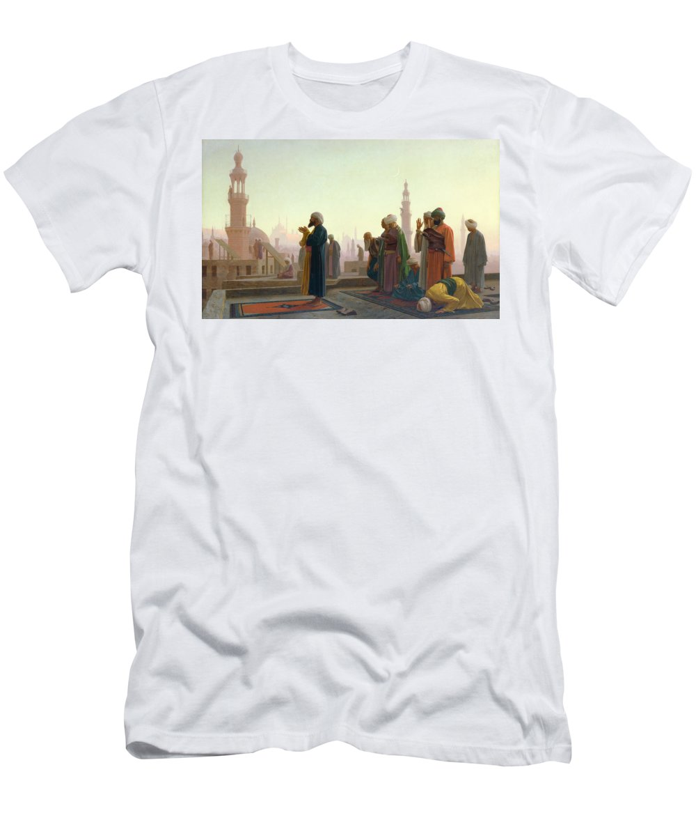 The Men's T-Shirt (Athletic Fit) featuring the painting The Prayer by Jean Leon Gerome