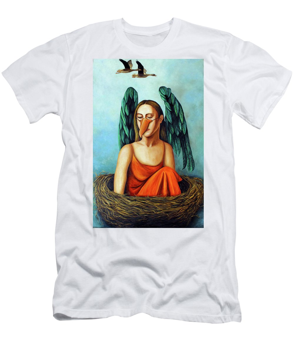 Bird.geese.mask Men's T-Shirt (Athletic Fit) featuring the painting The Pretender by Leah Saulnier The Painting Maniac