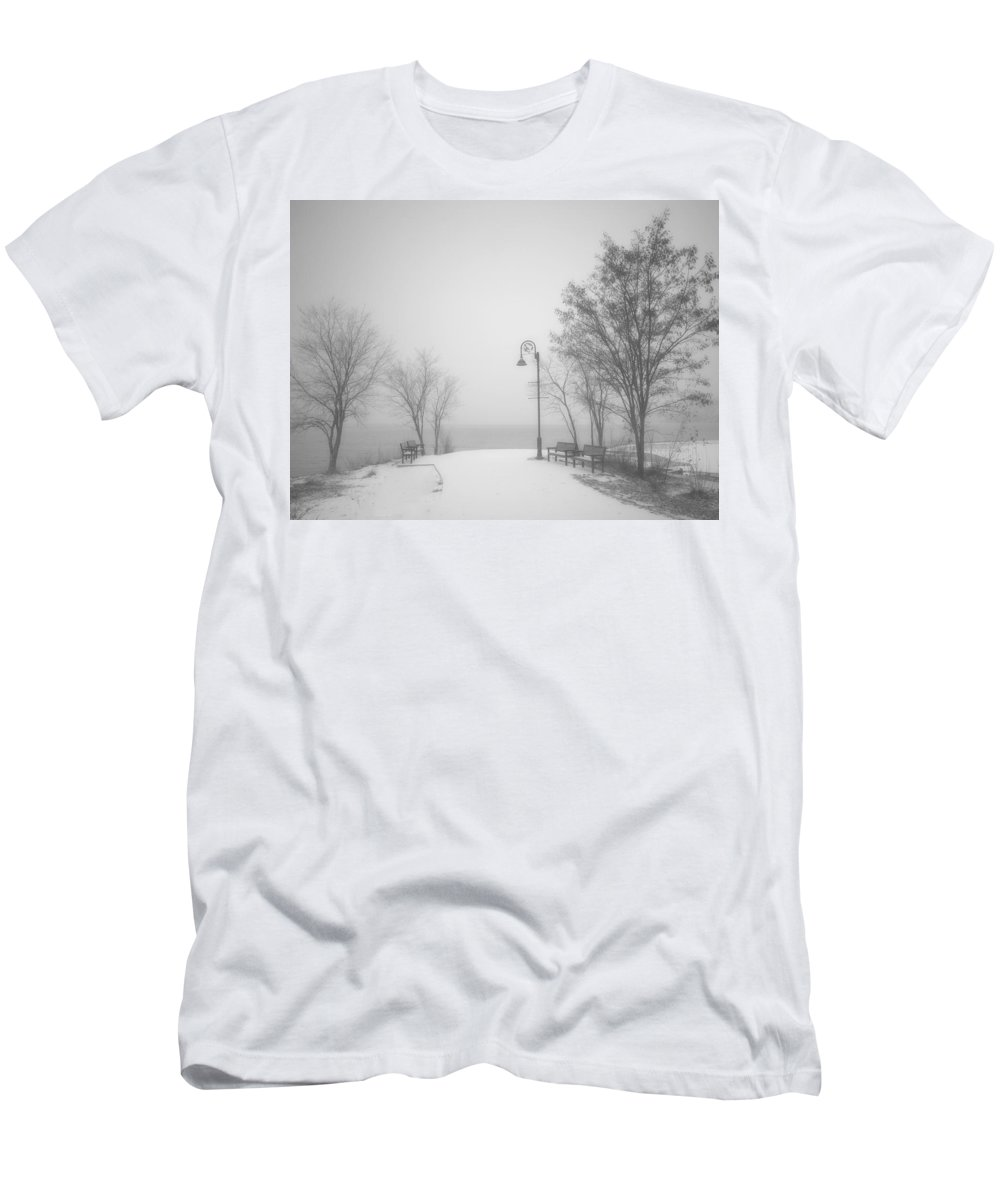 Black&white Men's T-Shirt (Athletic Fit) featuring the photograph The Quiet Moment Before Snow Touches Ground by Tara Turner