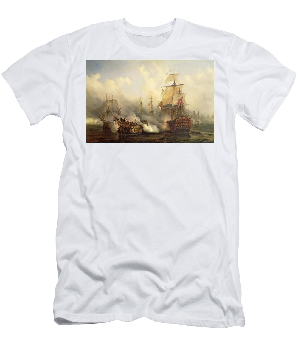 The Men's T-Shirt (Athletic Fit) featuring the painting Unknown Title Sea Battle by Auguste Etienne Francois Mayer