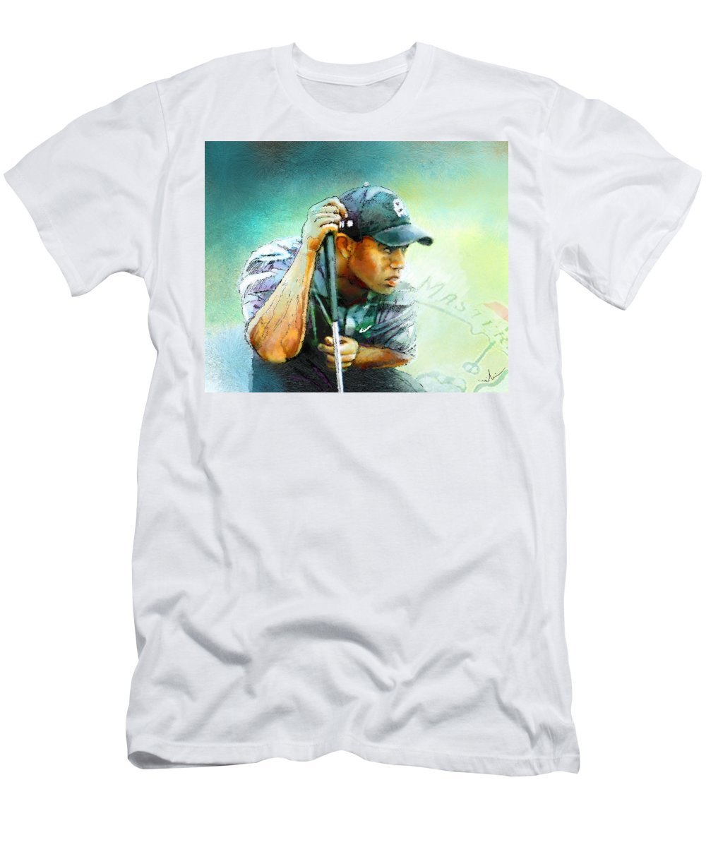 Portrait Men's T-Shirt (Athletic Fit) featuring the painting The Return Of The Tiger 01 - Stalking 01 by Miki De Goodaboom