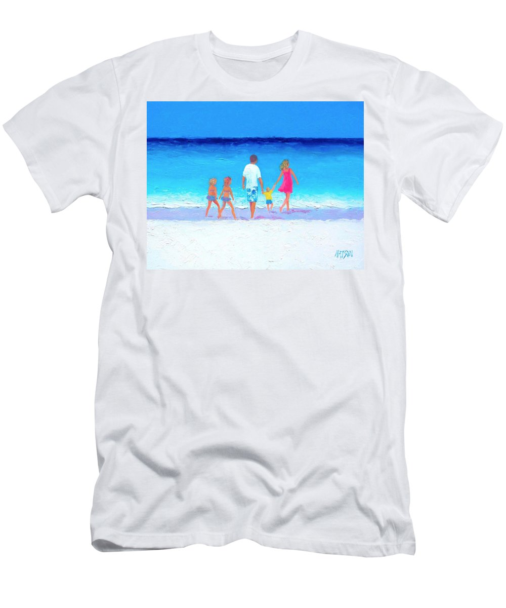 Beach Men's T-Shirt (Athletic Fit) featuring the painting The Seaside Holiday - Beach Painting by Jan Matson