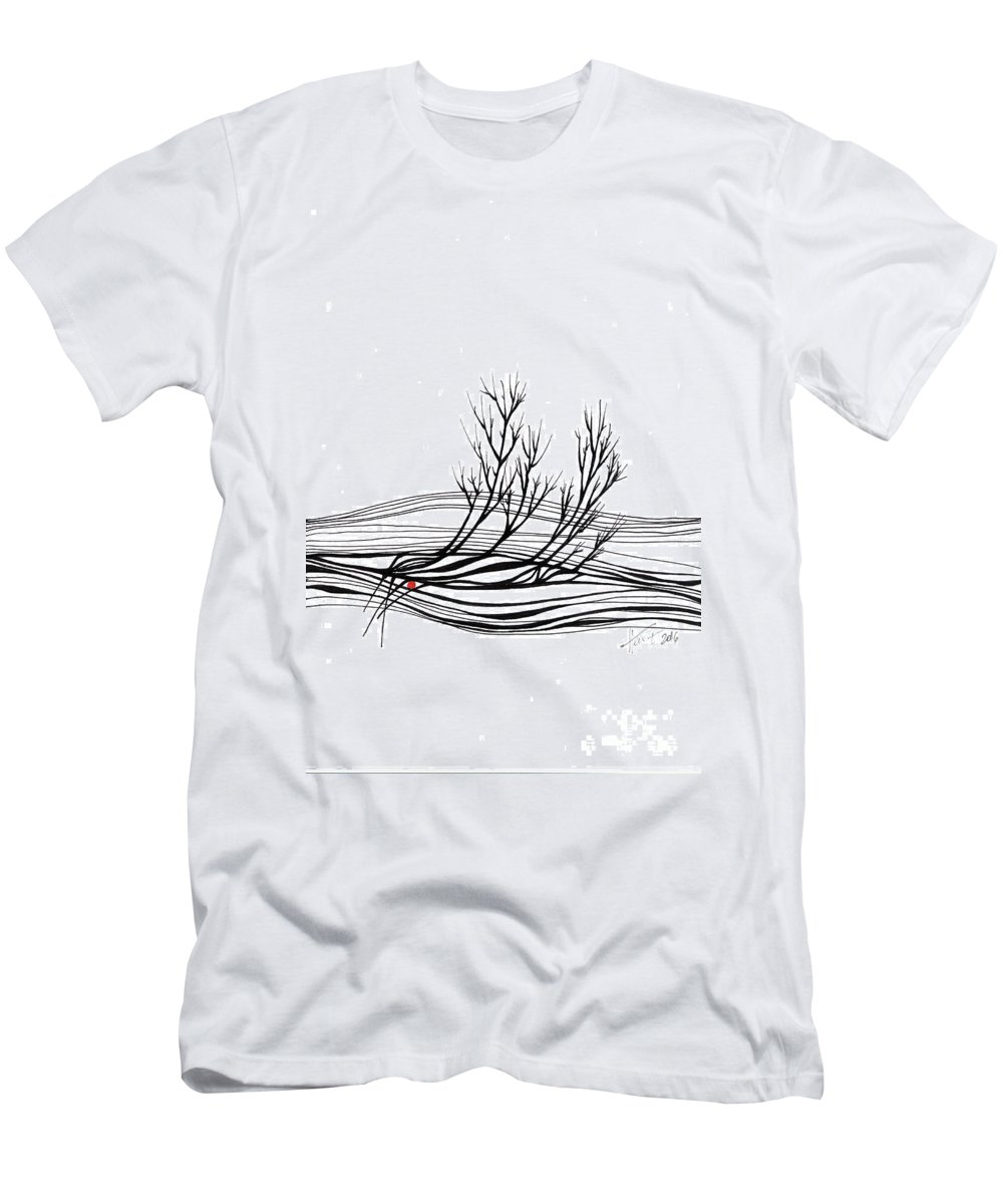 Trees Men's T-Shirt (Athletic Fit) featuring the drawing The Seed by Aniko Hencz