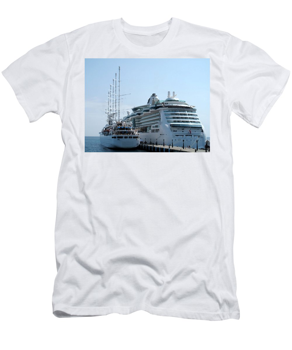 Wind Song Men's T-Shirt (Athletic Fit) featuring the photograph The Ships Are In by Ian MacDonald
