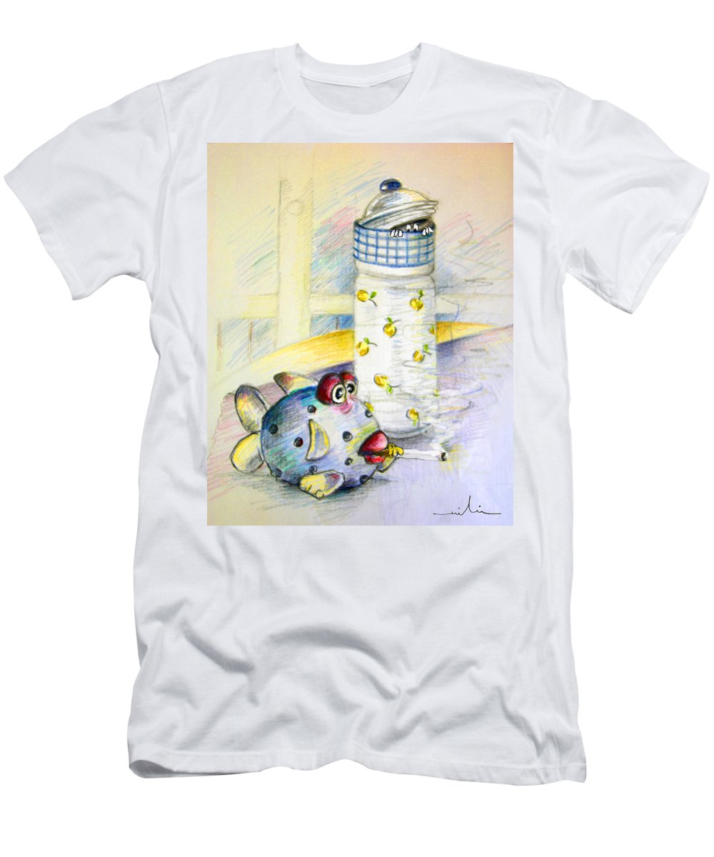 Fish Men's T-Shirt (Athletic Fit) featuring the painting The Smoking Fish by Miki De Goodaboom