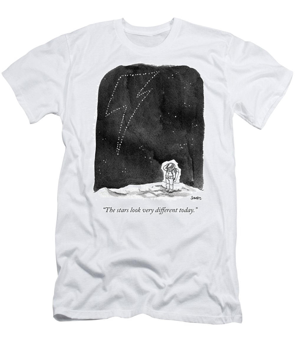 """the Stars Look Very Different Today."" Men's T-Shirt (Athletic Fit) featuring the drawing The Stars Look Very Different Today by Benjamin Schwartz"