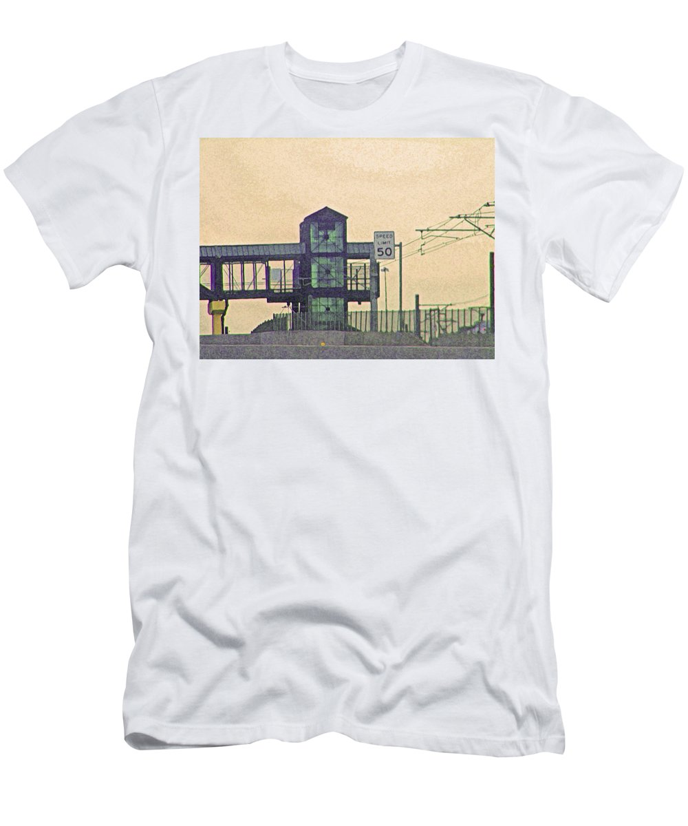 Abstract Men's T-Shirt (Athletic Fit) featuring the photograph The Station by Lenore Senior