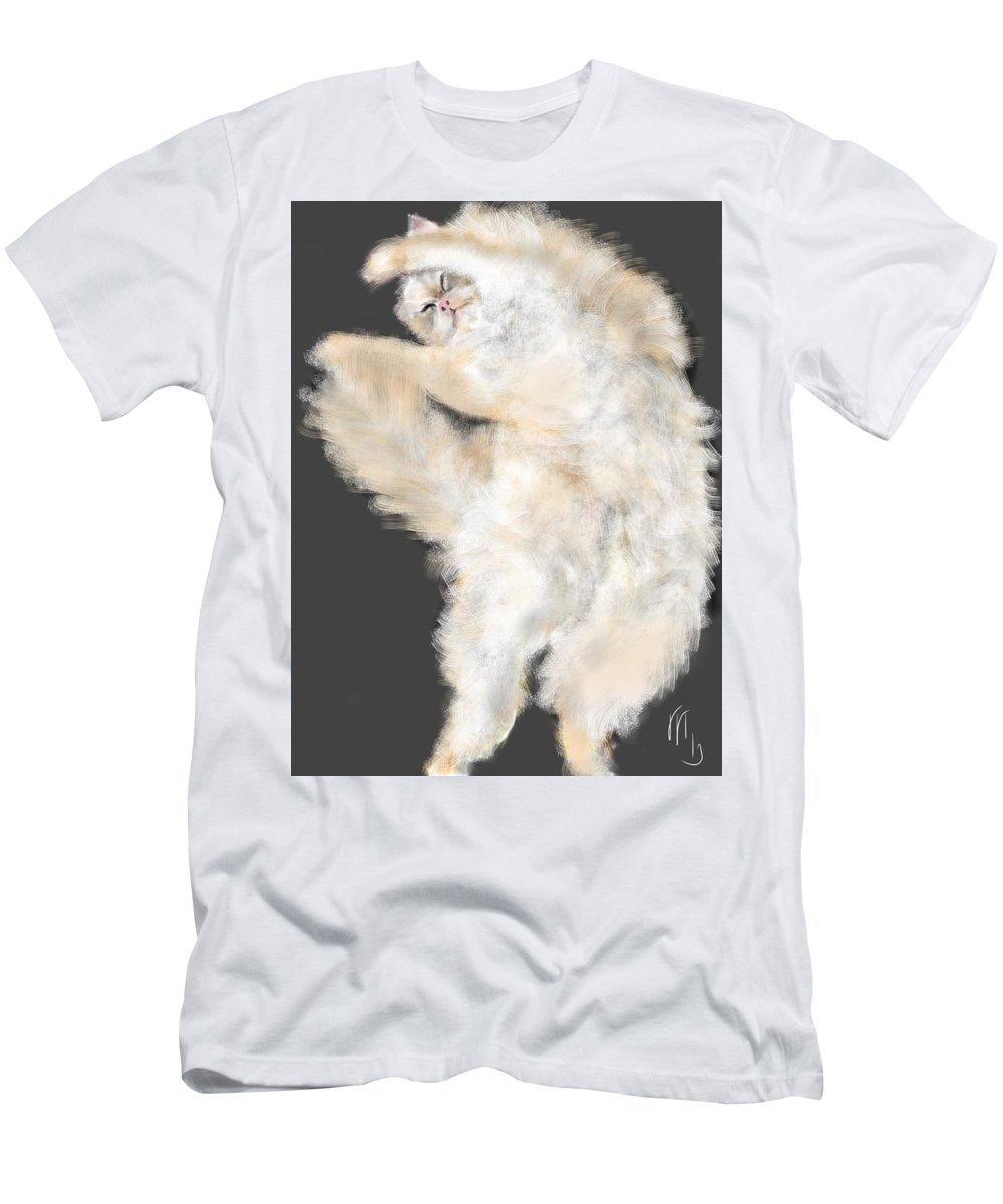 Cat Men's T-Shirt (Athletic Fit) featuring the painting The Stretching Cat by Lois Ivancin Tavaf