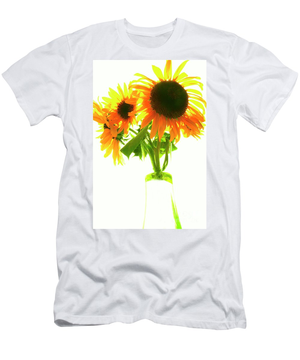 Sunflower Men's T-Shirt (Athletic Fit) featuring the photograph The Sunflowers In A Glass Vase. by Alexander Vinogradov