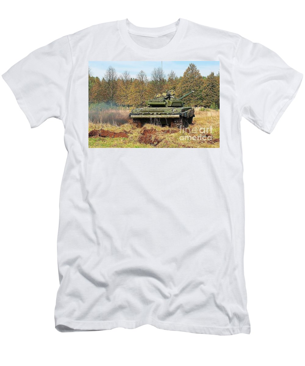 Armour Men's T-Shirt (Athletic Fit) featuring the photograph The Tank T-72 In Movement by Vadzim Kandratsenkau