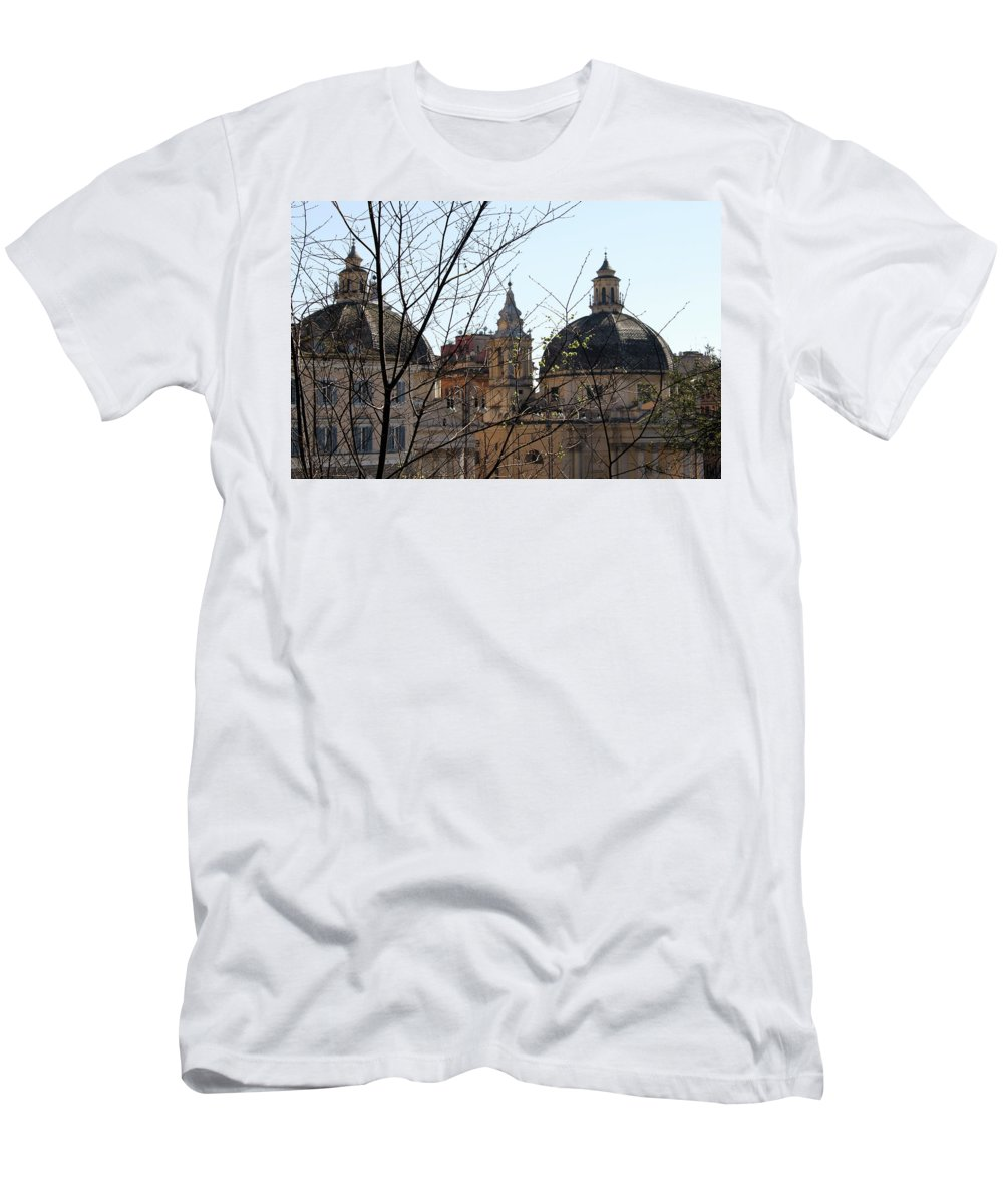 Twin Men's T-Shirt (Athletic Fit) featuring the photograph The Twin Churches by Munir Alawi