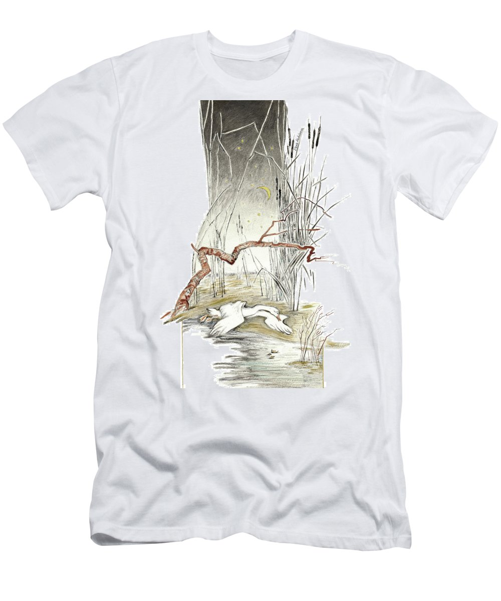 The Ugly Duckling All Alone Cold And Hungry In Marsh Reeds Illustration For Classic Fairy Tale T Shirt For Sale By Elena Abdulaeva