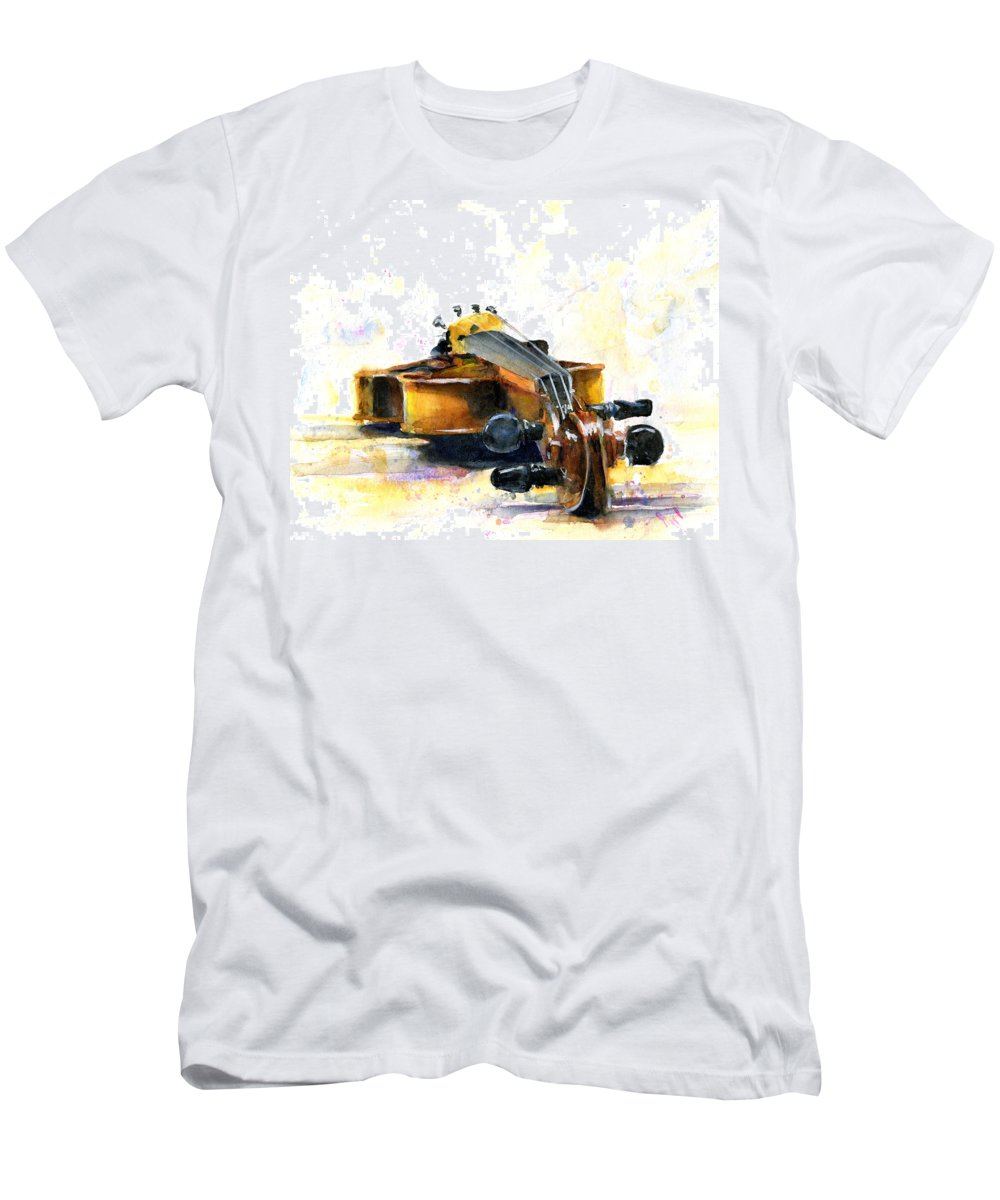 Violin. Watercolor Men's T-Shirt (Athletic Fit) featuring the painting The Violin by John D Benson