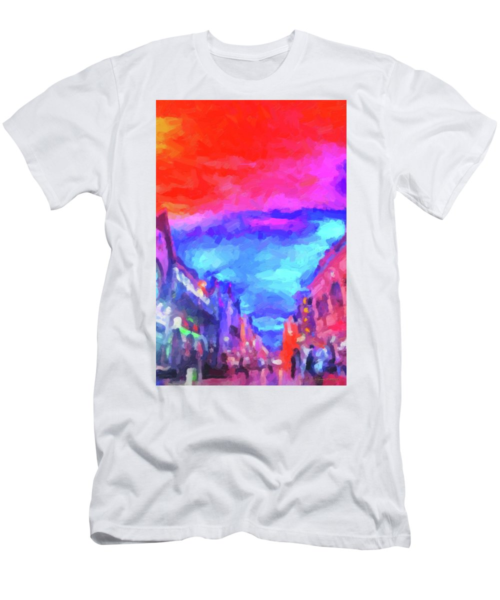 'the Walkabouts' Collection By Serge Averbukh Men's T-Shirt (Athletic Fit) featuring the digital art The Walkabouts - Sunset In Chinatown by Serge Averbukh