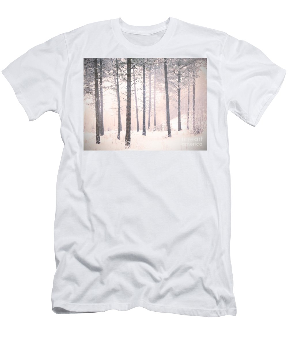 Trees Men's T-Shirt (Athletic Fit) featuring the photograph The Winter Forest by Tara Turner