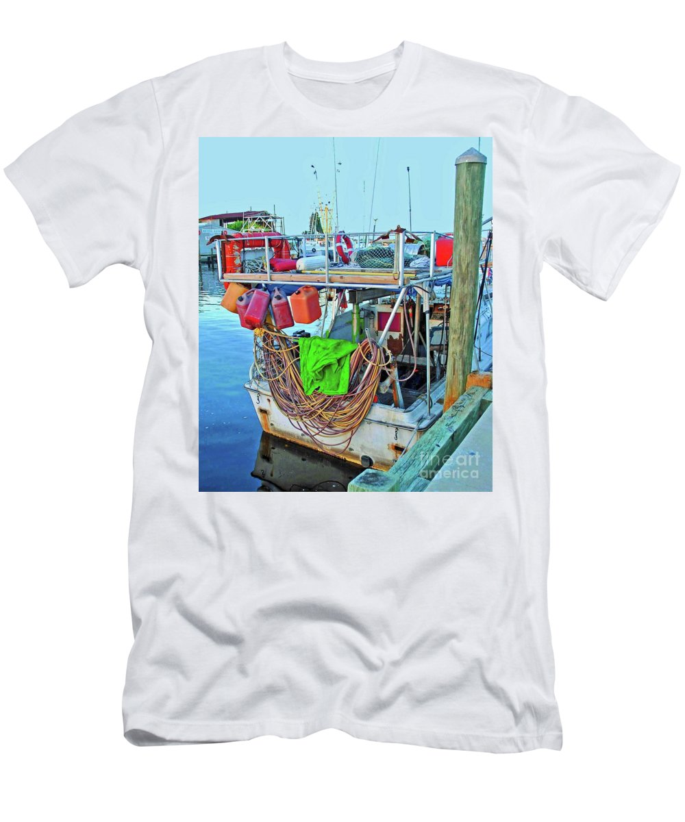 Boat Men's T-Shirt (Athletic Fit) featuring the photograph The Work Boat by Jost Houk
