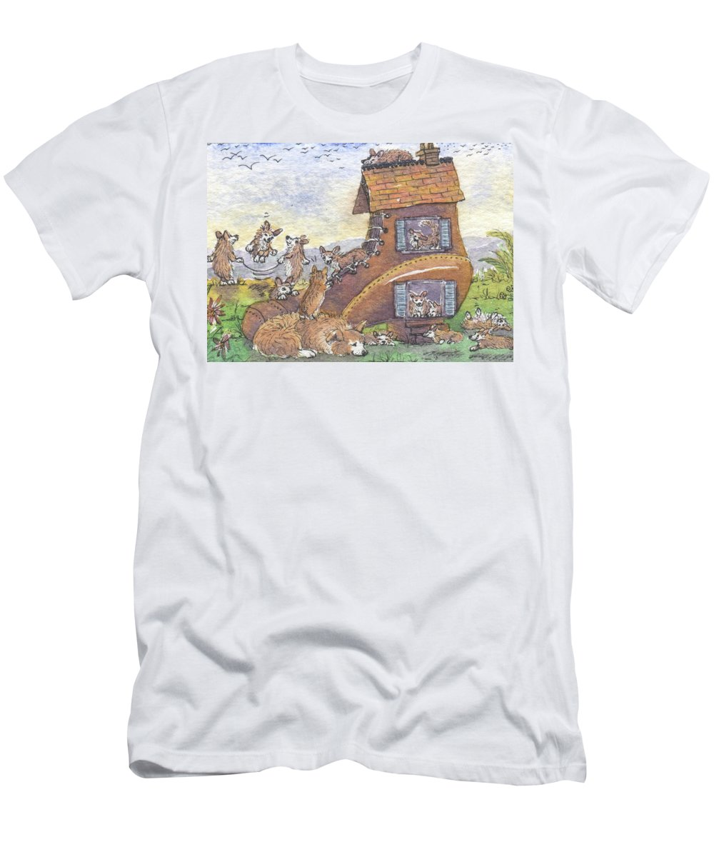 Pembroke Welsh Corgi Men's T-Shirt (Athletic Fit) featuring the painting There Was An Old Corgi Who Lived In A Shoe by Susan Alison