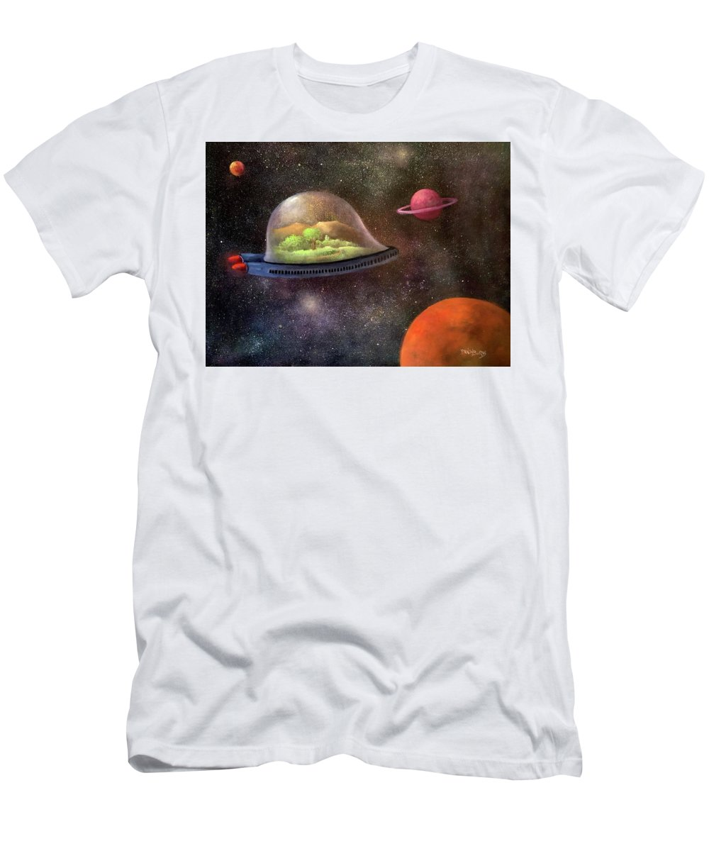 Space Men's T-Shirt (Athletic Fit) featuring the painting They Took Their World With Them by Randy Burns