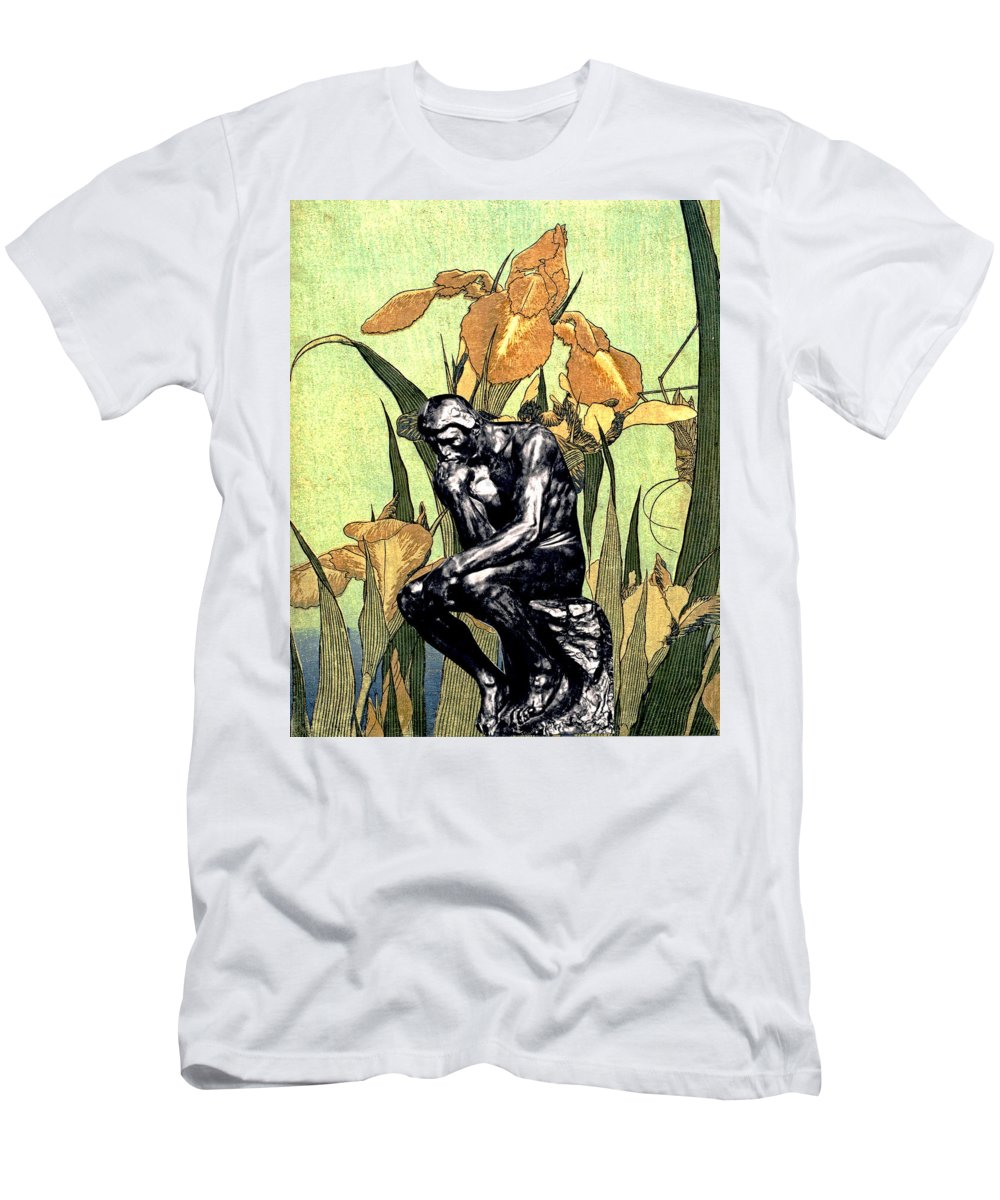 Collage Men's T-Shirt (Athletic Fit) featuring the digital art Thinking In The Garden by John Vincent Palozzi