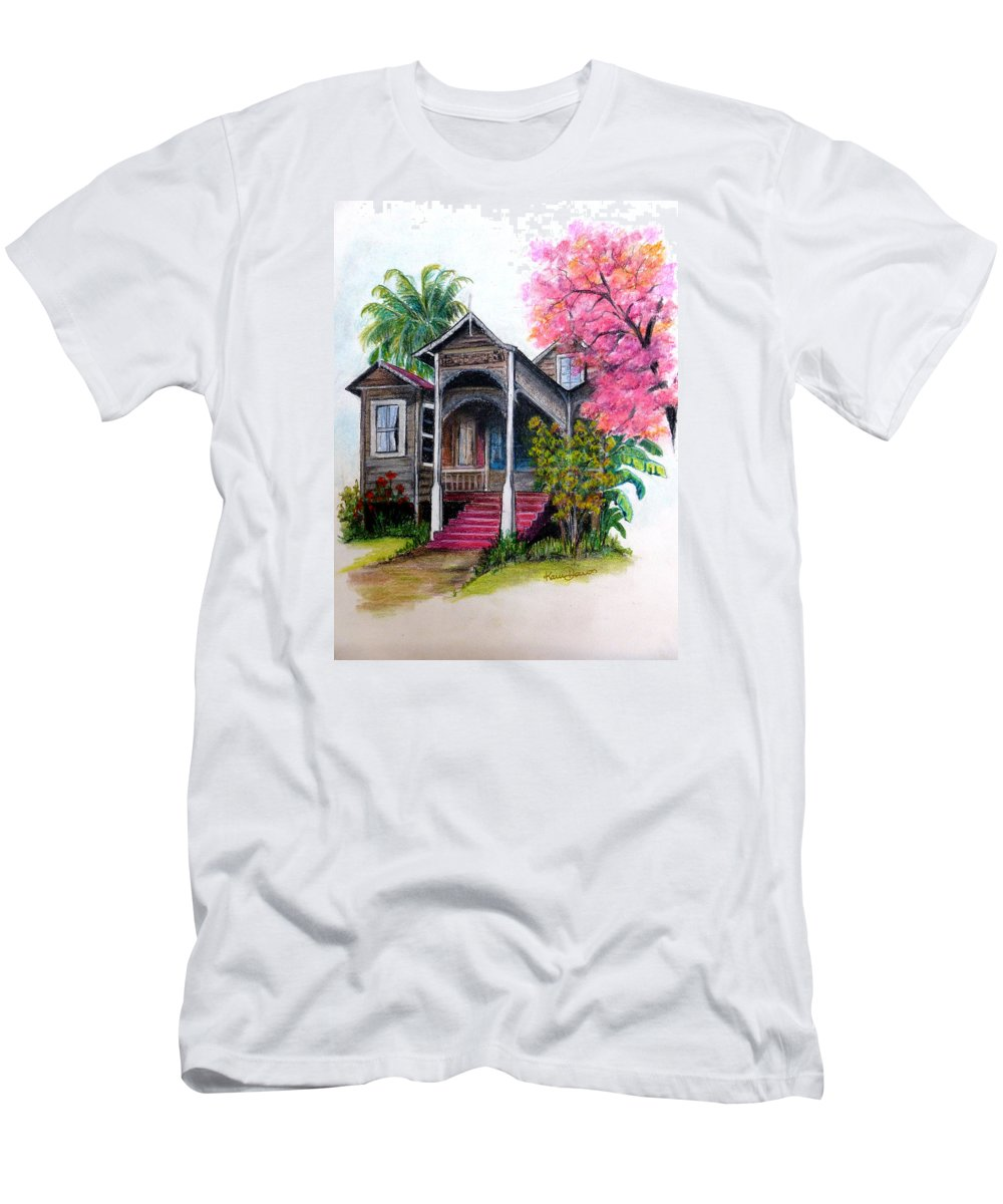Old House T-Shirt featuring the pastel This Old House by Karin Dawn Kelshall- Best