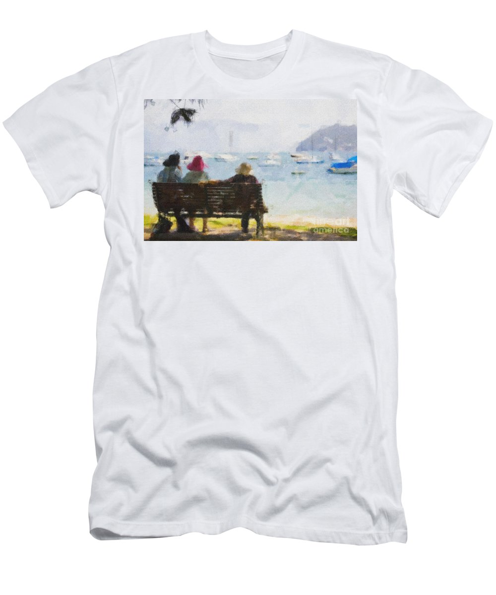 Impressionism Impressionist Water Boats Three Ladies Seat Men's T-Shirt (Athletic Fit) featuring the photograph Three Ladies by Sheila Smart Fine Art Photography