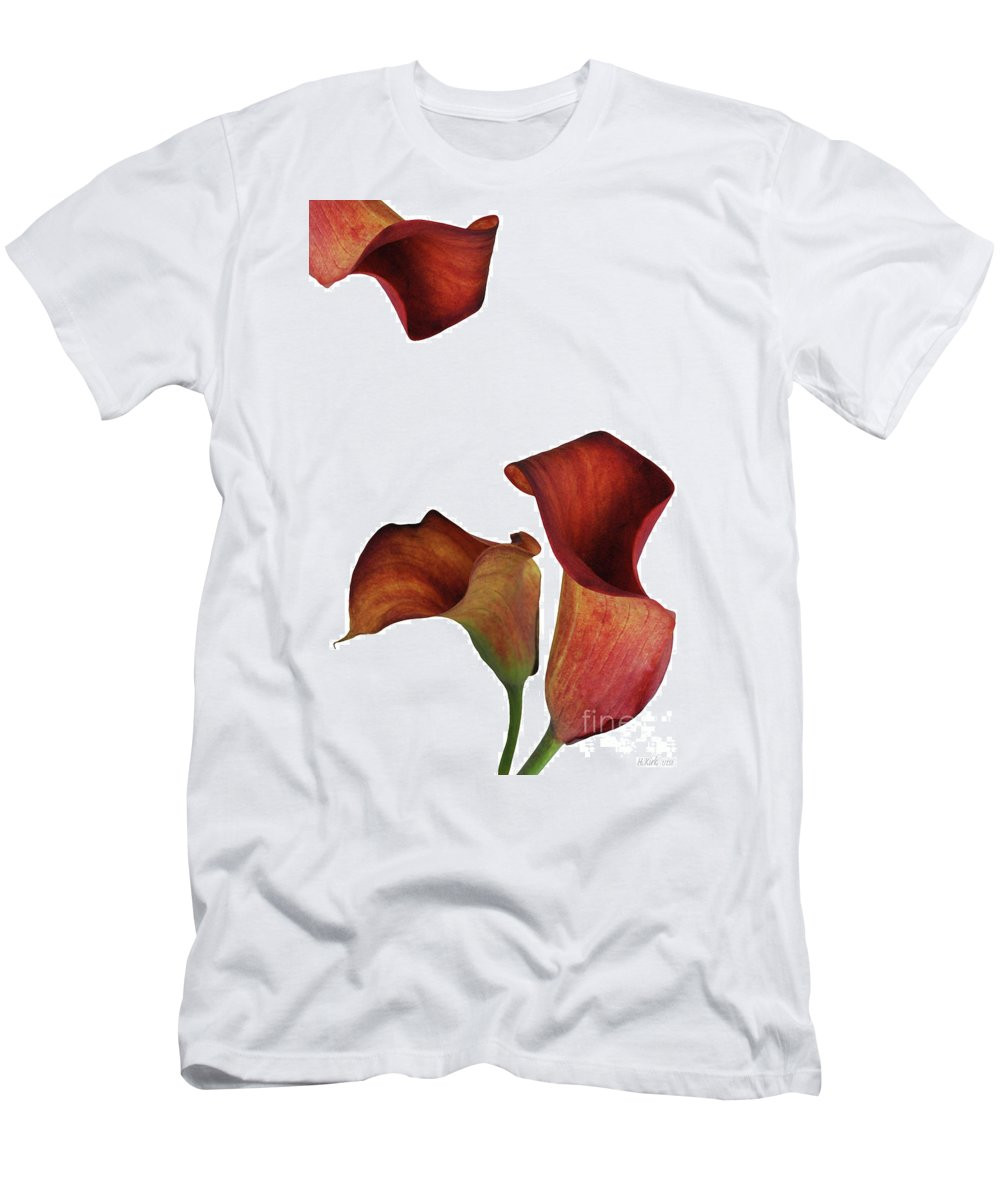 Rust Men's T-Shirt (Athletic Fit) featuring the photograph Three Rust Calla Lilies by Heather Kirk