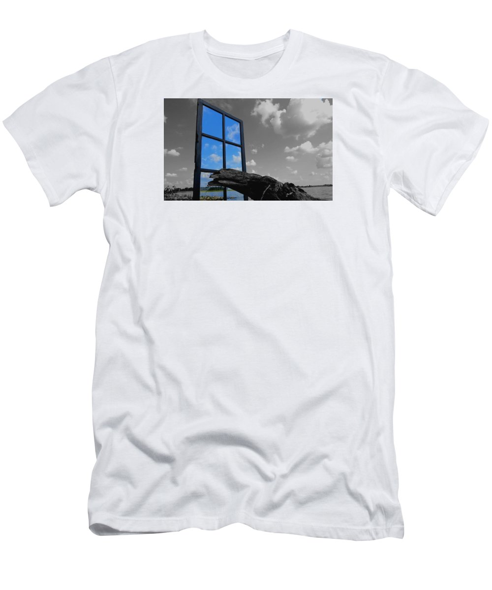 Window Men's T-Shirt (Athletic Fit) featuring the photograph Through The Looking Glass Blue by William Caine