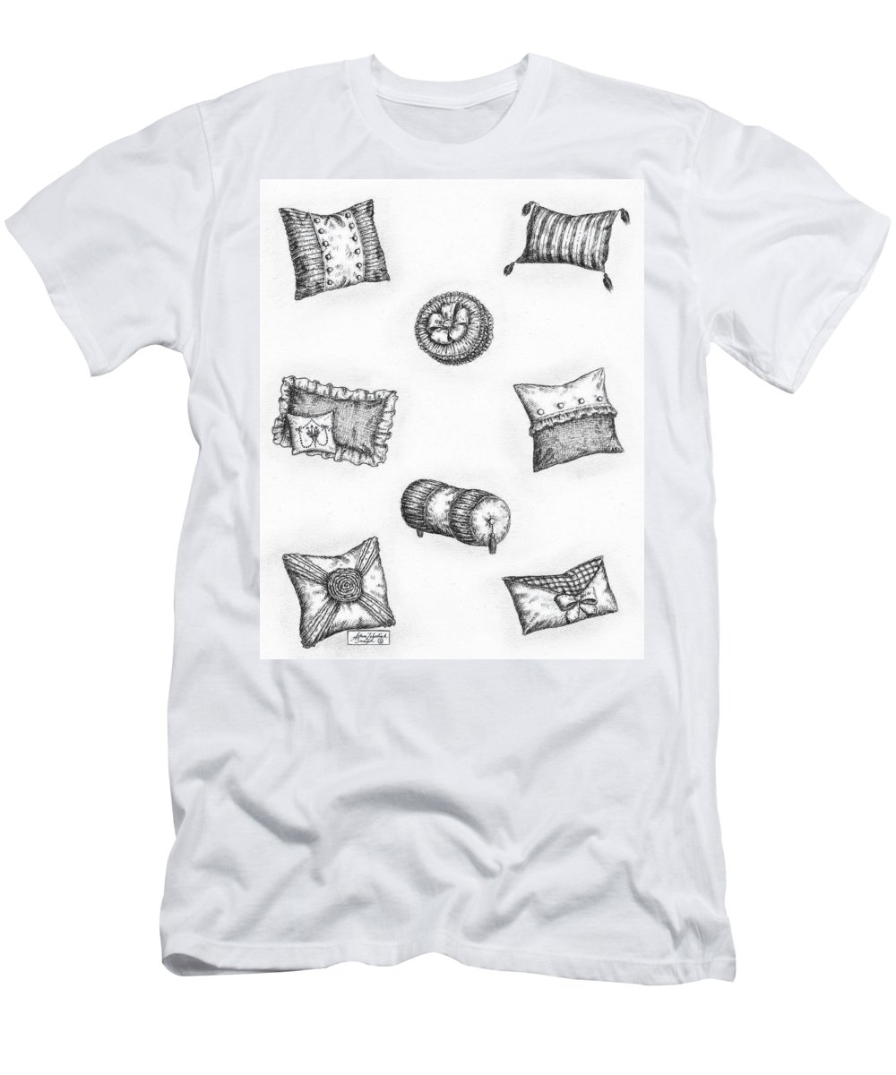 Black Men's T-Shirt (Athletic Fit) featuring the drawing Throw Pillows by Adam Zebediah Joseph