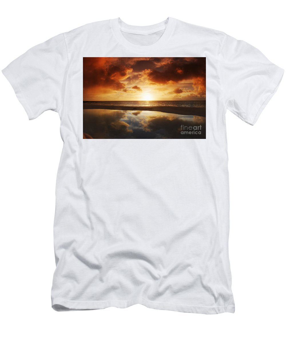 Afternoon Men's T-Shirt (Athletic Fit) featuring the photograph Tidepool At Sunset by Vince Cavataio - Printscapes