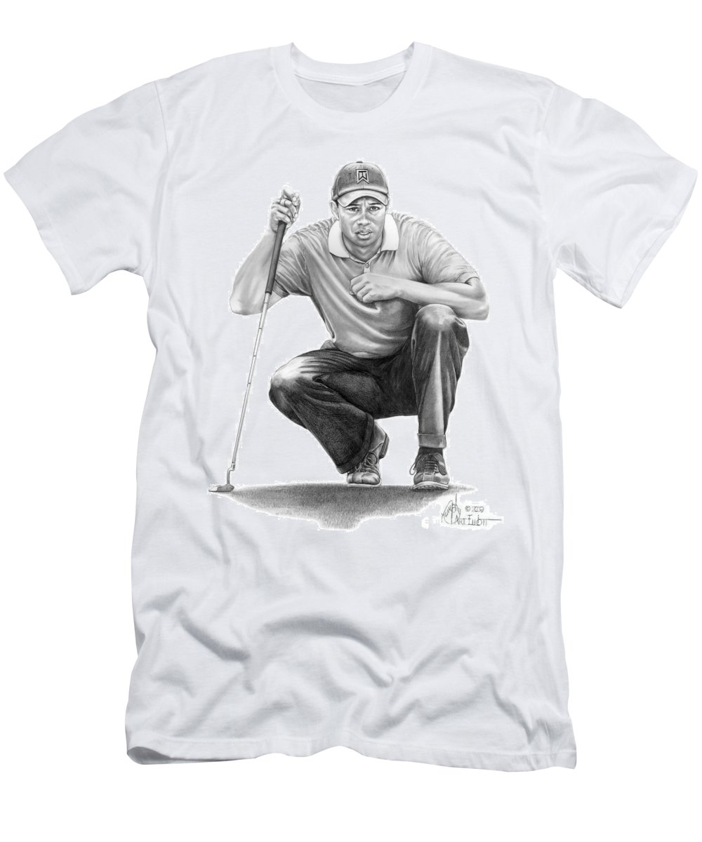 Pencil Men's T-Shirt (Athletic Fit) featuring the drawing Tiger Woods Crouching Tiger by Murphy Elliott