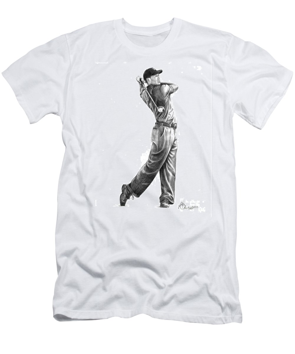 Tiger Woods Men's T-Shirt (Athletic Fit) featuring the drawing Tiger Woods Full Swing by Murphy Elliott