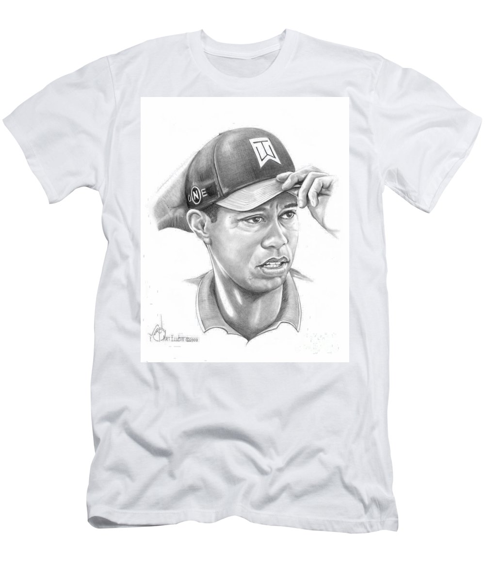 Tiger Woods Men's T-Shirt (Athletic Fit) featuring the drawing Tiger Woods Game On by Murphy Elliott