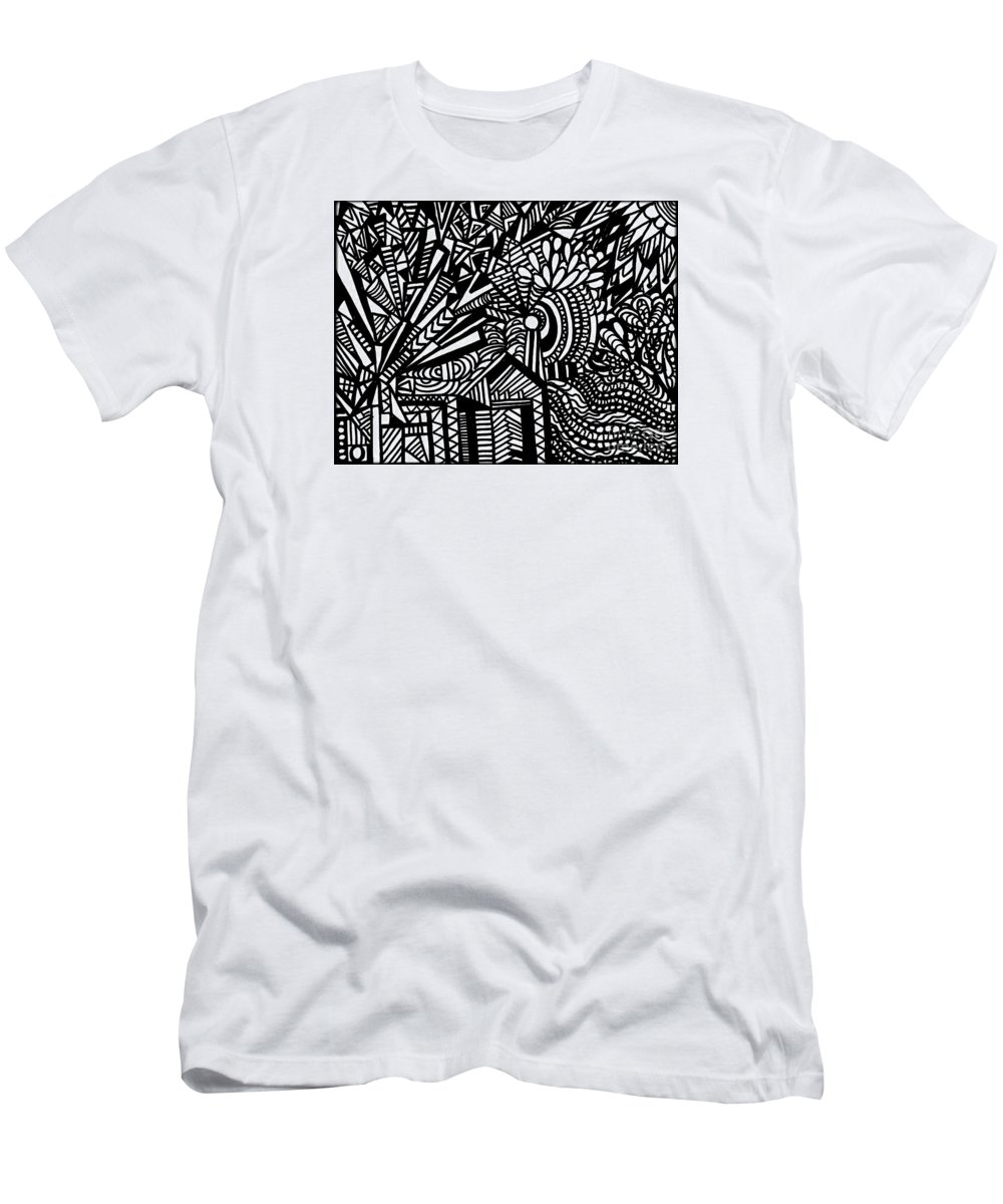 Windmill T-Shirt featuring the painting Tilting At Windmills by Wbk