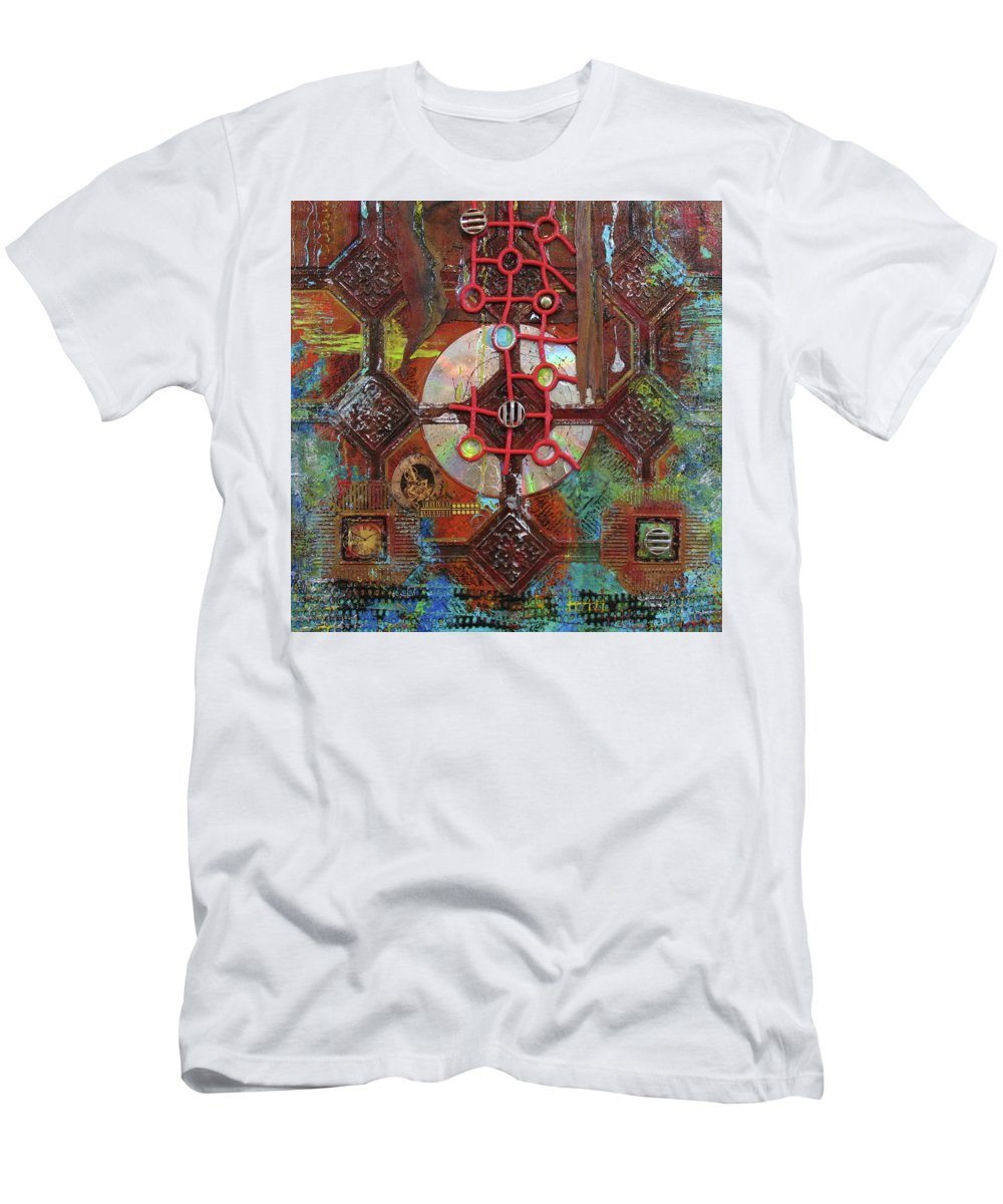 Assemblage Painting T-Shirt featuring the painting Time Passage II by Elaine Booth-Kallweit