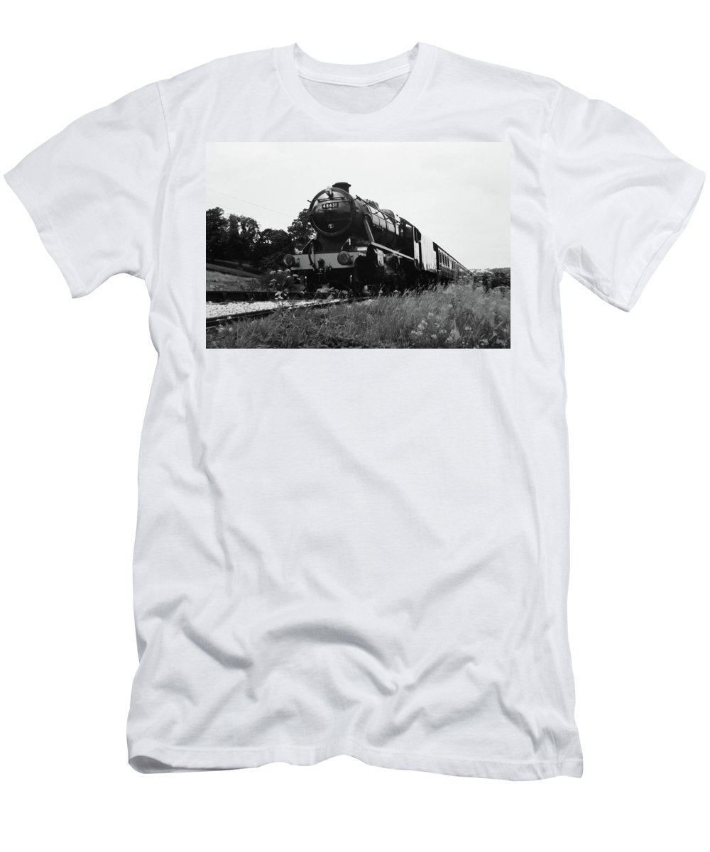 Steam Men's T-Shirt (Athletic Fit) featuring the photograph Time Travel By Steam B/w by Martin Howard