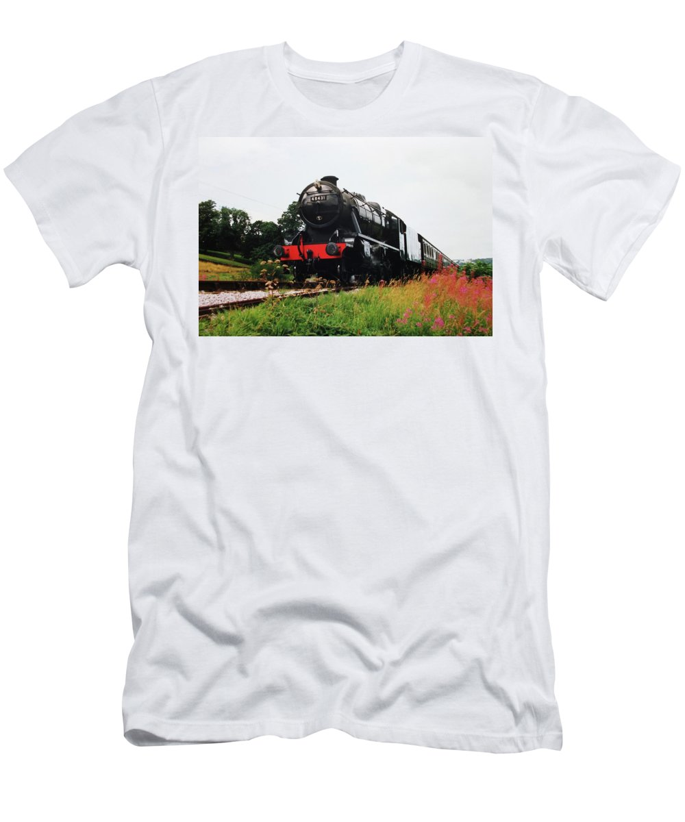 Steam Men's T-Shirt (Athletic Fit) featuring the photograph Time Travel By Steam by Martin Howard