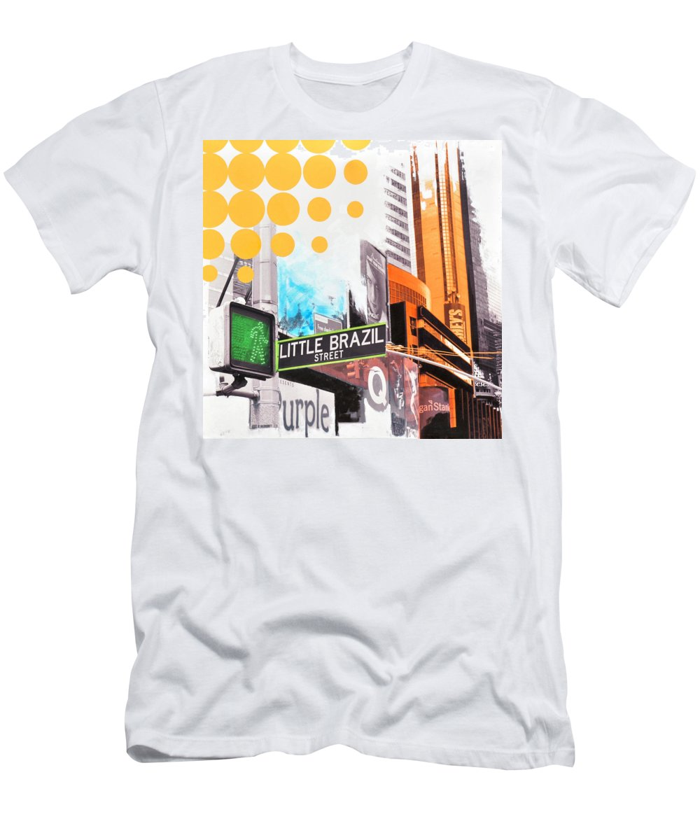 Ny Men's T-Shirt (Athletic Fit) featuring the painting Times Square Little Brazil by Jean Pierre Rousselet
