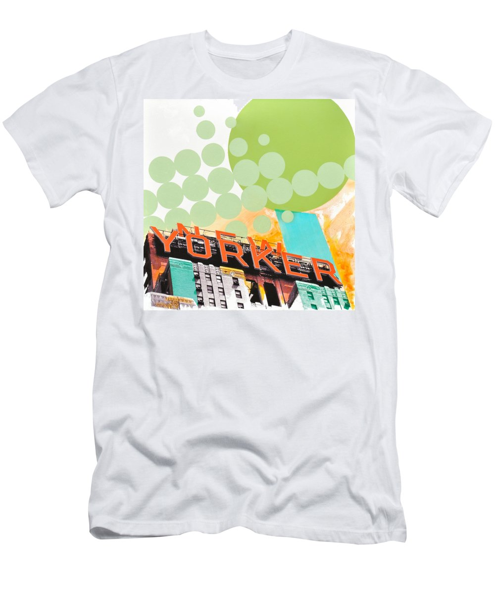 Ny Men's T-Shirt (Athletic Fit) featuring the painting Times Square New Yorker by Jean Pierre Rousselet