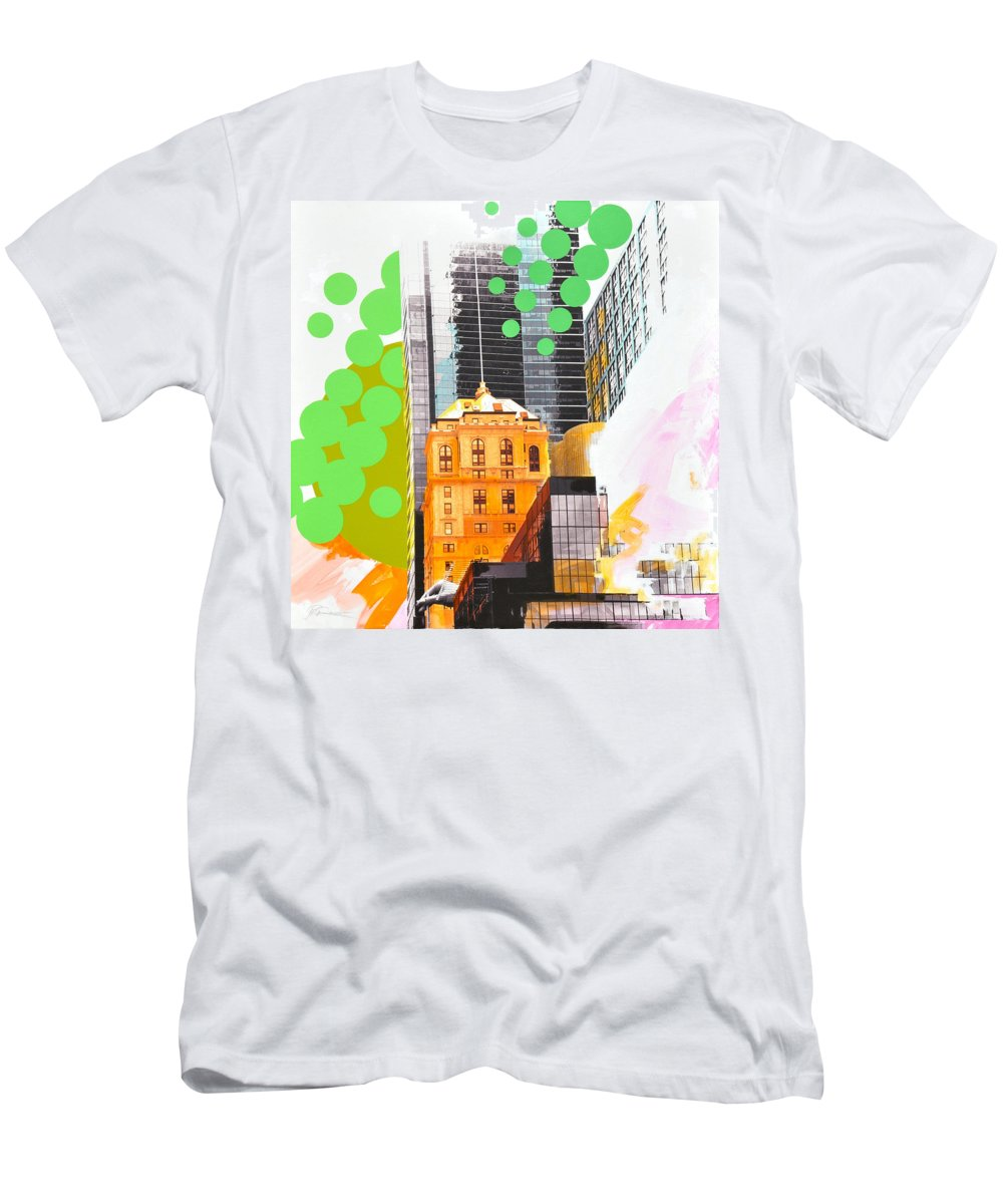 Ny Men's T-Shirt (Athletic Fit) featuring the painting Times Square Ny Advertise by Jean Pierre Rousselet