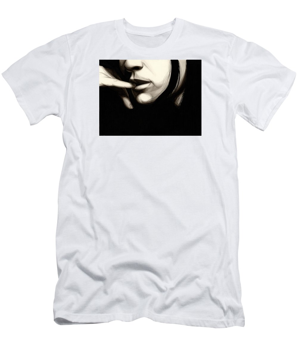 Ink Men's T-Shirt (Athletic Fit) featuring the painting Timid by James Taylor