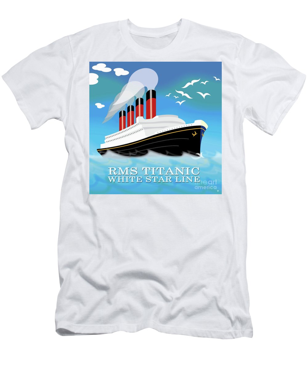 Ship Men's T-Shirt (Athletic Fit) featuring the painting Titanic by Neil Finnemore