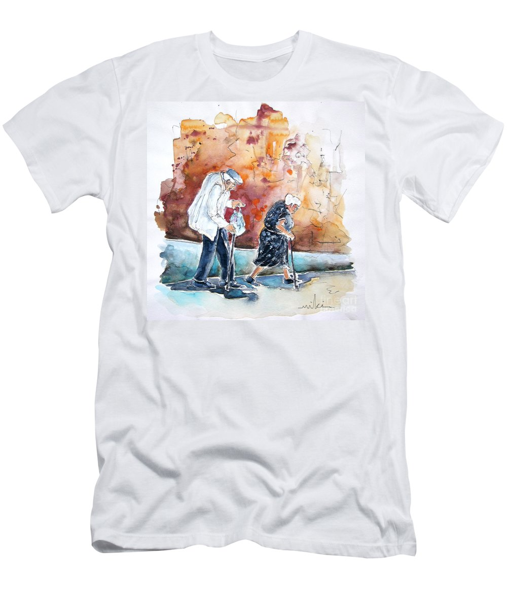 Portugal Paintings Men's T-Shirt (Athletic Fit) featuring the painting Together Old In Portugal 01 by Miki De Goodaboom