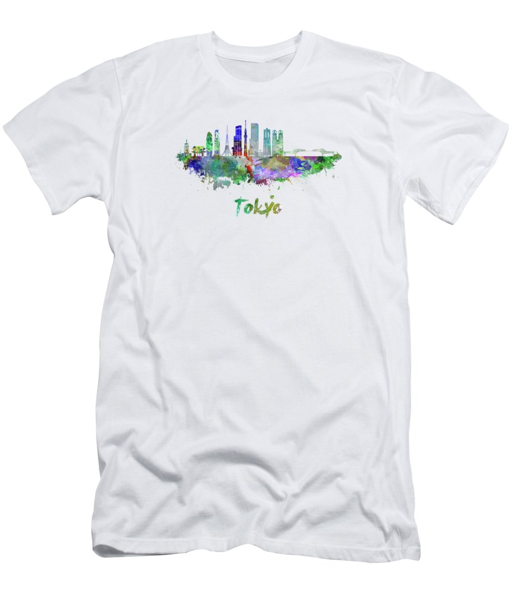 Tokyo; Tokyo Skyline; Japan; Asia; Watercolor; Background; Abstract; Color; Splash; Colorful; Art; Texture; Grunge; Illustration; Bright; Splatter; Creativity; Architecture; Cityscape; Landmark; Monuments; Panoramic; Skyline; Clipping Path Men's T-Shirt (Athletic Fit) featuring the painting Tokyo V3 Skyline In Watercolor by Pablo Romero