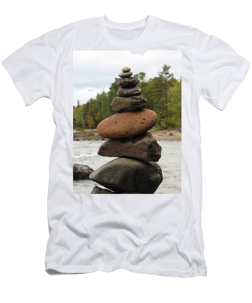 Rocks Men's T-Shirt (Athletic Fit) featuring the photograph Top Of The Stack by Kelly Mezzapelle
