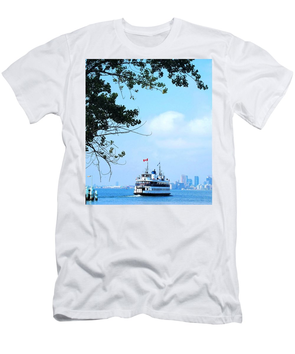 Ferry Men's T-Shirt (Athletic Fit) featuring the photograph Toronto Island Ferry by Ian MacDonald