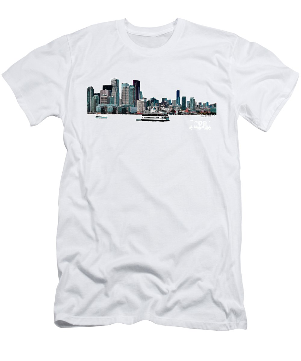 Toronto Men's T-Shirt (Athletic Fit) featuring the photograph Toronto Portlands Skyline With Island Ferry by Nina Silver