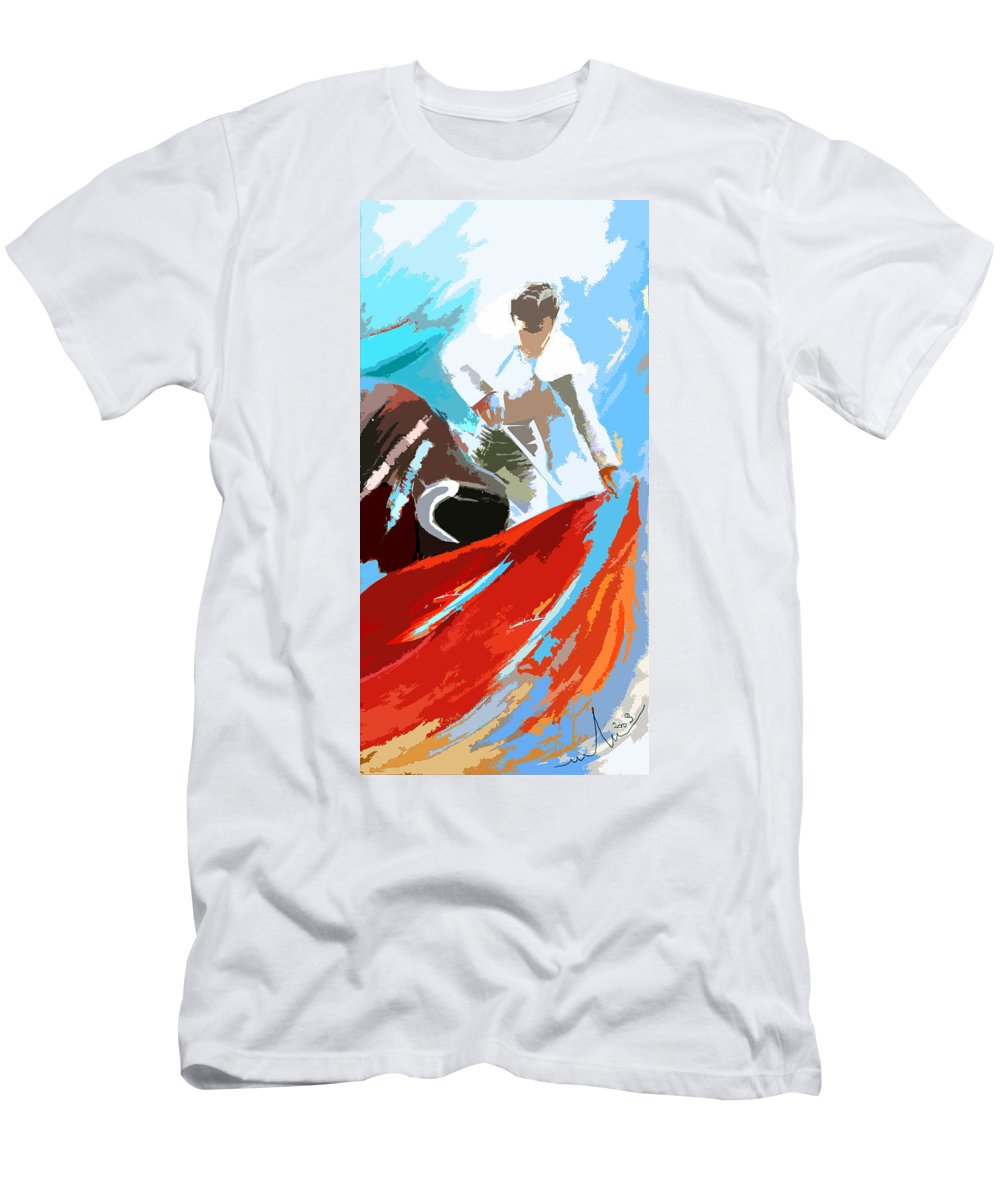 Animals Men's T-Shirt (Athletic Fit) featuring the painting Toroscape 32 by Miki De Goodaboom